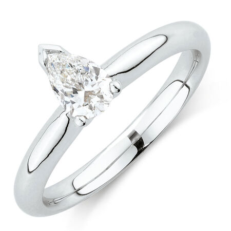 Solitaire Engagement Ring with a 1/2 Carat TW Certified Diamond in 18ct White Gold