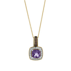 Pendant with Amethyst & 0.50 Carat TW of Diamonds in 14ct Yellow, White & Rose Gold