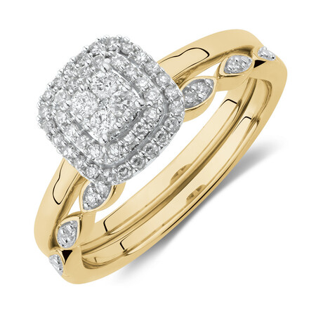Evermore Bridal Set with 0.25 Carat TW of Diamonds in 10ct Yellow & White Gold