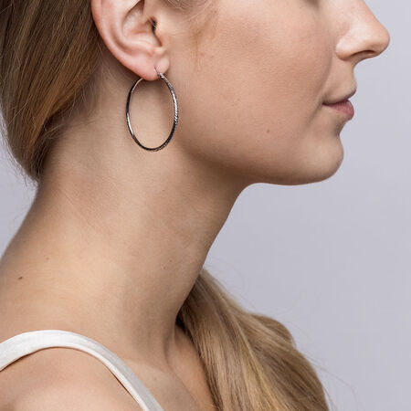 35mm Patterned Hoop Earrings in Sterling Silver