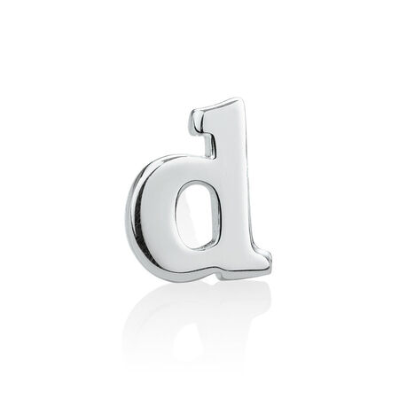 """D"" Initial Stud Earring in Sterling Silver"