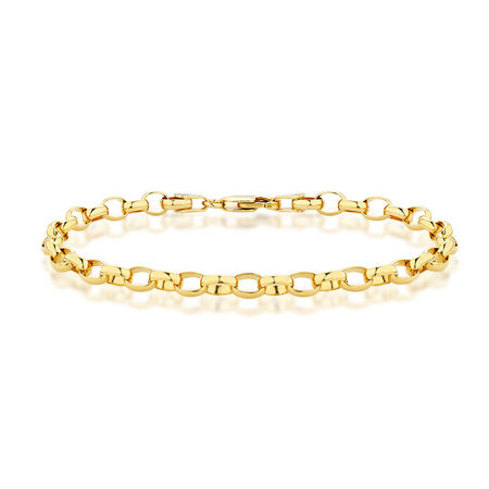 "19cm (7.5"") Oval Belcher Bracelet in 10ct Yellow Gold"
