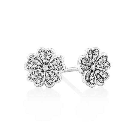 Flower Stud Earrings with 0.12 Carat TW of Diamonds in Sterling Silver