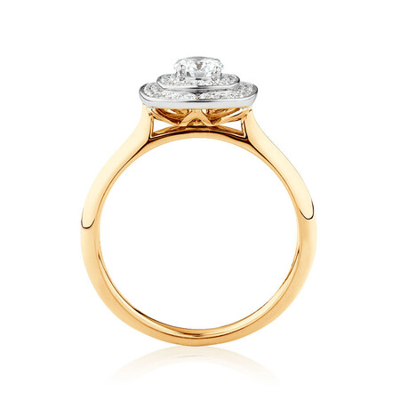 Whitefire Engagement Ring with 1/2 Carat TW of Diamonds in 18ct White & Yellow Gold & 22ct Yellow Gold