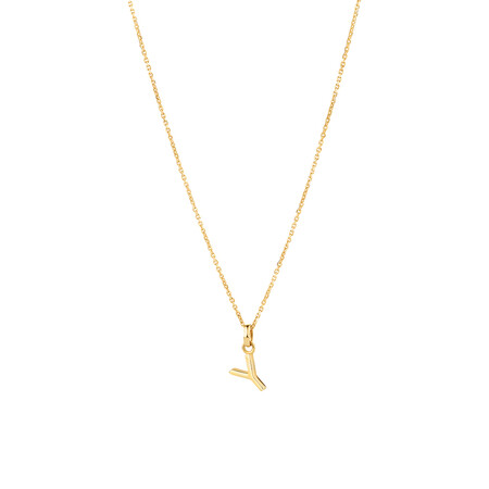"""""""Y"""" Initial Pendant with Chain in 10ct Yellow Gold"""