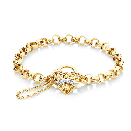 Diamond Set Padlock Belcher Bracelet in 10ct Yellow Gold