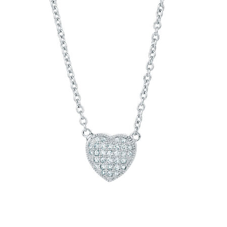 Heart Necklace with Cubic Zirconias in Sterling Silver