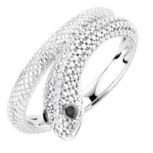 Ring with Enhanced Black Diamonds in Sterling Silver