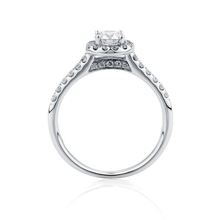 Engagement Ring with 0.80 Carat TW of Diamonds in 14ct White Gold