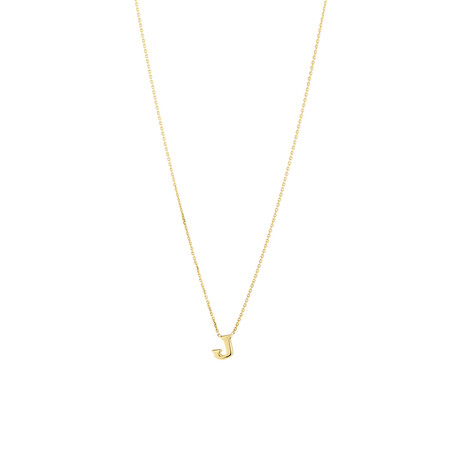 """J"" Initial Necklace in 10ct Yellow Gold"