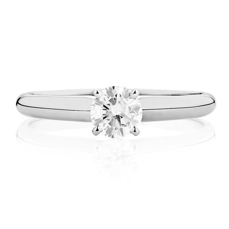 Solitaire Engagement Ring with a 0.45 Carat Diamond in 14ct White Gold