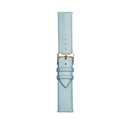 Large Watch Strap in Pale Blue Leather & Rose Tone Stainless Steel