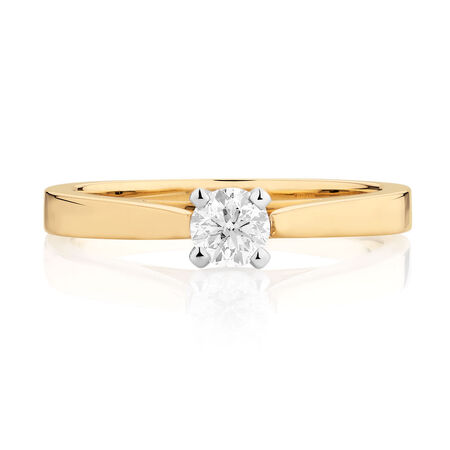 Certified Solitaire Engagement Ring with a 0.29 Carat Diamond in 14ct Yellow & White Gold