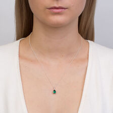 Online Exclusive - Pendant with Created Emerald & Diamonds in 10ct White Gold