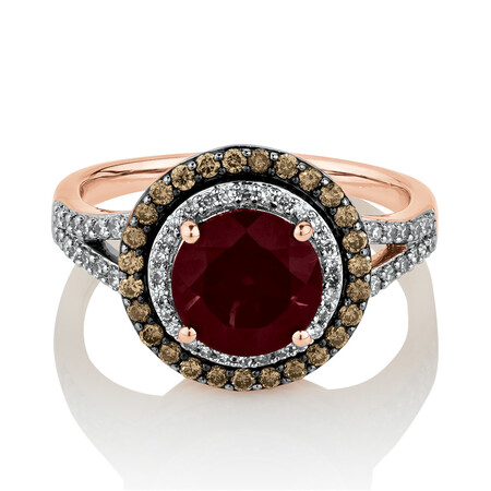 Ring with 0.50 Carat TW of White & Brown Diamonds & Rhodolite Garnet in 14ct Rose Gold