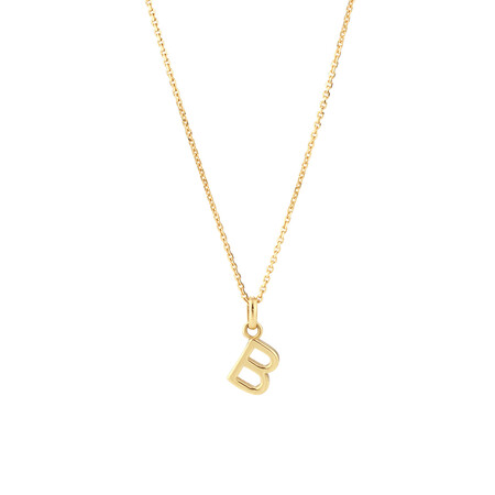 """""""B"""" Initial Pendant with Chain in 10ct Yellow Gold"""