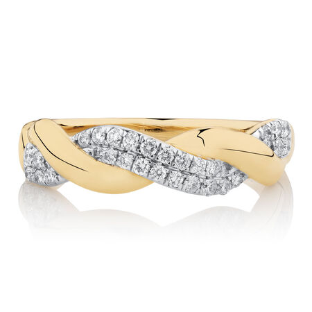 Twist Ring with 1/5 Carat TW of Diamonds in 10ct Yellow Gold