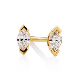 Marquise Stud Earrings with 0.14 Carat TW of Diamonds in 10ct Yellow Gold