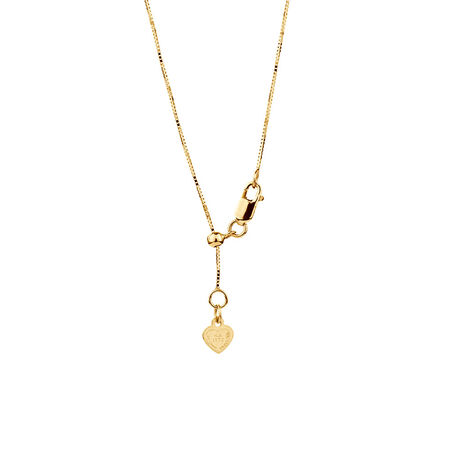 """50cm (20"""") Adjustable Box Chain in 10ct Yellow Gold"""