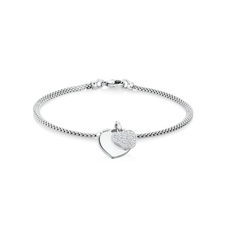 "19cm (7.5"") Double Heart Bracelet in Sterling Silver"
