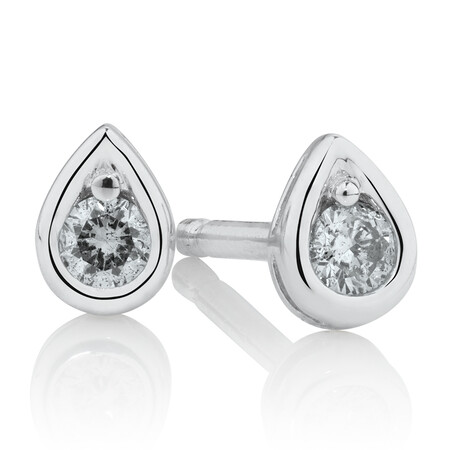 Pear Stud Earrings with Diamonds in Sterling Silver