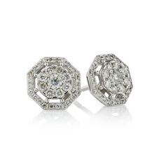 Online Exclusive - Octagon Stud Earrings with 1/2 Carat TW of Diamonds in 10ct White Gold
