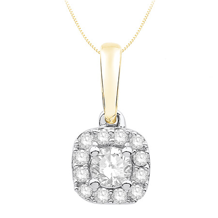 Pendant with 0.25 Carat TW of Diamonds in 10ct Yellow and White Gold
