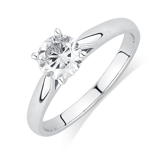 Solitaire Engagement Ring with a 0.70 Carat Diamond in 14ct White Gold