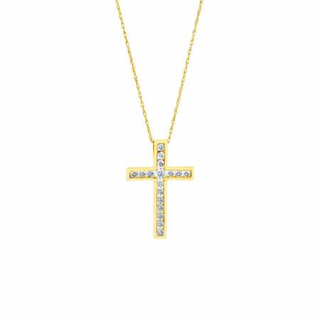 Cross Pendant With 1/2 Carat TW of Diamonds in 10ct Yellow Gold