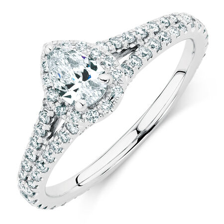 Sir Michael Hill Designer GrandAllegro Engagement Ring with 0.95 Carat TW of Diamonds in 14ct White Gold