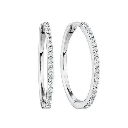 Medium Huggie Earrings With 1/4 Carat TW of Diamonds in 10ct White Gold