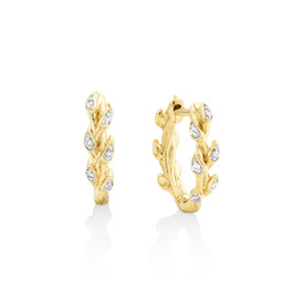 Willow Hoop Earrings With Diamonds In 10ct Yellow Gold