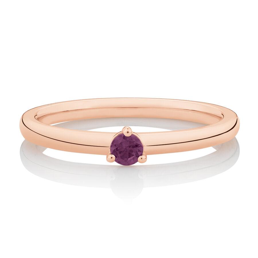 Stacker Ring with Rhodolite Garnet in 10ct Rose Gold
