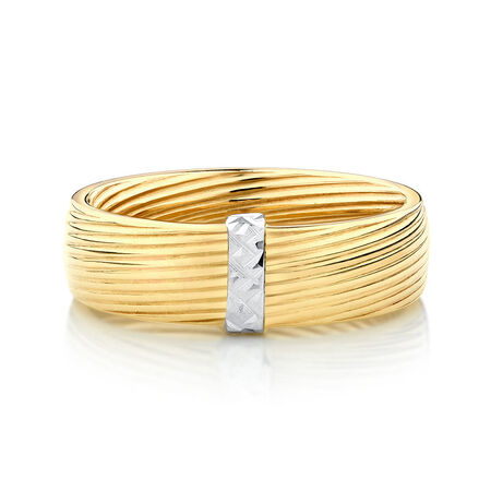 Patterned Ring in 10ct Yellow & White Gold