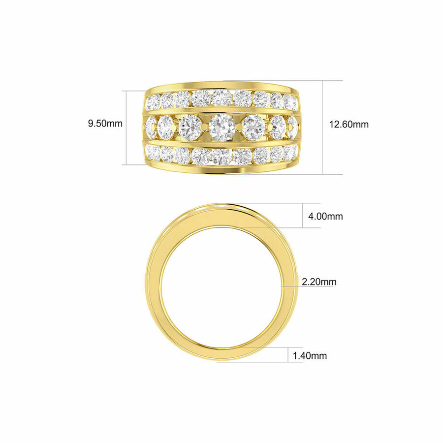 Three Row Ring with 3 Carat TW of Diamond in 10ct Yellow Gold