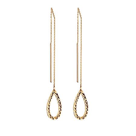 Geometric Teardrop Earrings in 10ct Yellow Gold