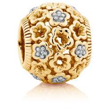 Diamond Set 10ct Yellow Gold Lace Filigree Flower Charm
