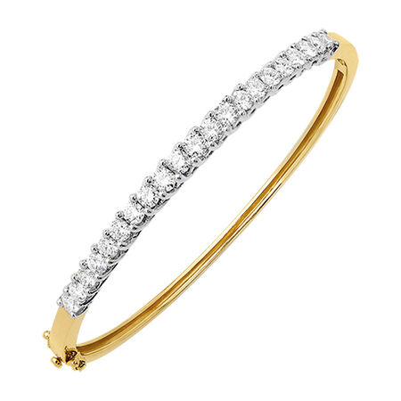 Hinged Bangle with 2 Carat TW of Diamonds in 18ct Yellow & White Gold