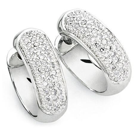 Hoop Earrings with 1/4 Carat TW of Diamonds in 10ct White Gold