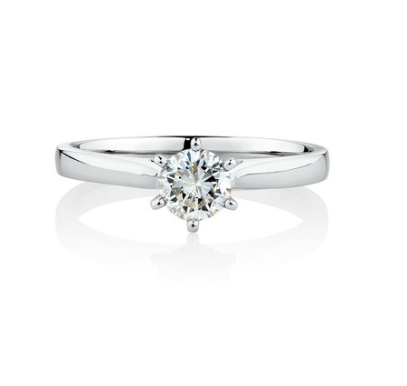 Solitaire Engagement Ring With a 0.60 Carat TW Diamond in 10ct White Gold
