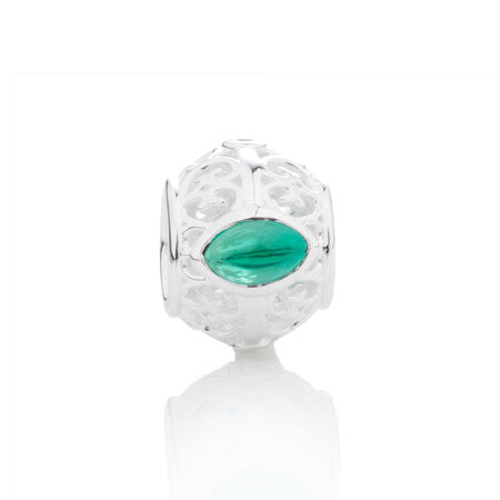 Online Exclusive - Diamond Set Charm with Created Emerald in Sterling Silver