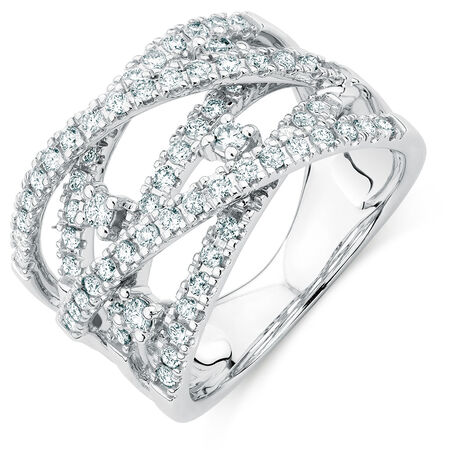 Ring with 0.95 Carat TW of Diamonds in 14ct White Gold