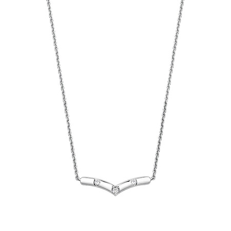 Chevron Necklace With Diamonds In Sterling Silver