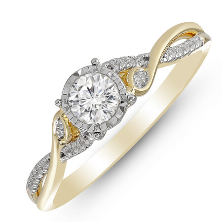Twist Ring with 0.40 Carat TW of Diamonds in 14ct Yellow & White Gold
