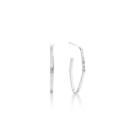 Geometric Hoop Stud Earrings in 10ct White Gold