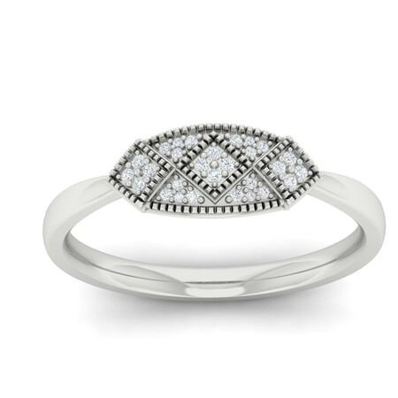 Cluster Ring with Diamonds in 10ct White Gold