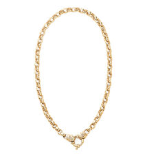 """50cm (20"""") Hollow Belcher Chain with Diamonds in 10ct Yellow Gold"""