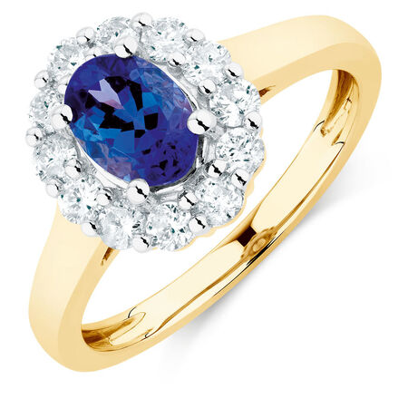 Ring with Tanzanite & 1/2 Carat TW of Diamonds in 10ct Yellow & White Gold