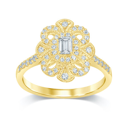 Flower Ring with 0.55 Carat TW of Diamonds in 14ct Yellow Gold