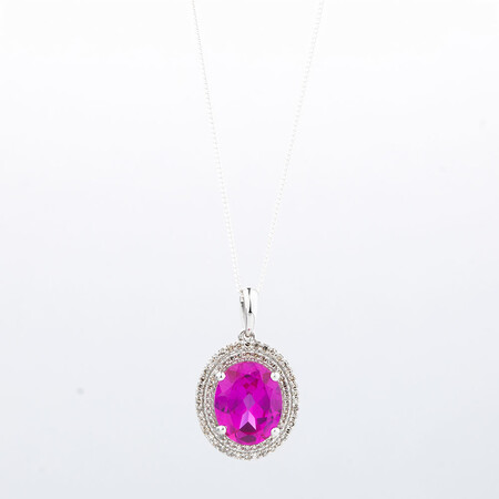 Online Exclusive - Pendant with 1/4 Carat Total Weight of Diamonds & Created Pink Sapphire in 10ct White Gold